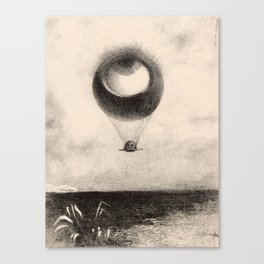Odilon Redon - The Eye, Like a Strange Balloon Moves Towards Infinity, plate one from To Edgar Poe Canvas Print