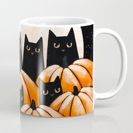 Black Cats in the Pumpkin Patch Coffee Mug