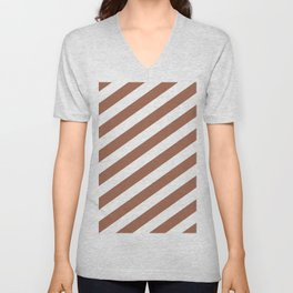 Sherwin Williams Cavern Clay SW7701 & White Stripes Fat Angled Lines - Stripe Pattern Unisex V-Neck