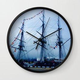 Blue Ship Wall Clock