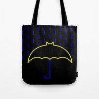 gotham Tote Bags featuring Rainy Gotham by luis pippi