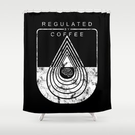 Caffeine on the Brain // B&W Regulated by Coffee Espresso Drip Distressed Living Graphic Design Shower Curtain