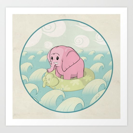 Elephant Across the Sea Art Print