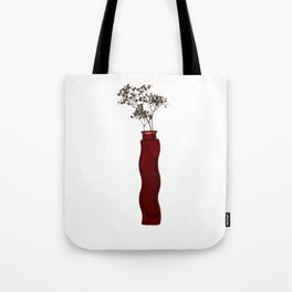 Red vase with white flowers Tote Bag