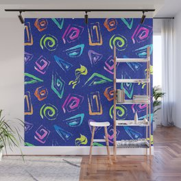 Surf Spiral Shapes in Neon Periwinkle Wall Mural