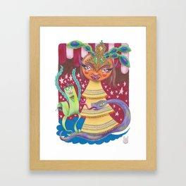 Goddess with Stars, Snake, and Bird Framed Art Print