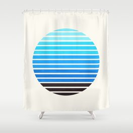 Cerulean Blue Mid Century Modern Abstract Minimalist Circle Sunset Stripes Ombre Watercolor Geometri Shower Curtain
