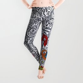 Pattern Doddle Hand Drawn  Black and White Colors Street Art Leggings