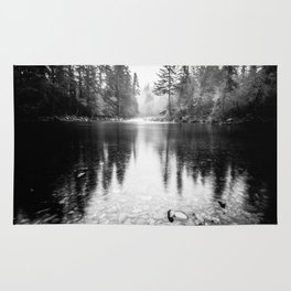 Forest Reflection Lake - Black and White  - Nature Photography Rug