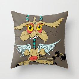 Evil Flying Feline Jackalope  Throw Pillow