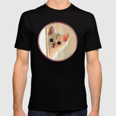 Kitten By The Window - Painting Style MEDIUM Black Mens Fitted Tee