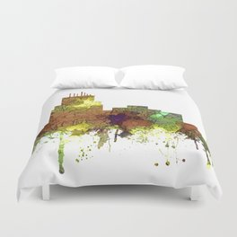 Durham, NC Skyline SG - Safari Buff Duvet Cover