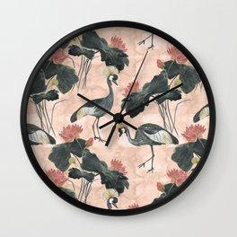 lotus and cranes Wall Clock