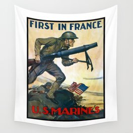 US Marines -- First In France Wall Tapestry