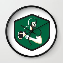 American Football Quarterback QB Shield Retro Wall Clock
