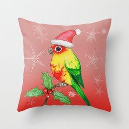 Christmas sun conure Throw Pillow