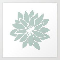 Flower Forest Fern Green on White Art Print