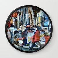 greek Wall Clocks featuring Greek Street by Teresa Pople