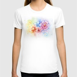 Flowers Watercolor Floral Colorful Rainbow Painting T-shirt