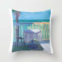 Seaview Cafe Table at the Caribbean With Palm - Dreamaway to Hideaway Throw Pillow