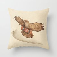 hawk Throw Pillows featuring Hawk by Terry Fan