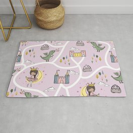Childish seamless pattern with princess and dragon Rug