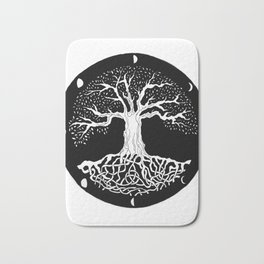 black and white tree of life with moon phases and celtic trinity knot Bath Mat