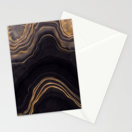 Dark Night Marble With Gold Glitter Waves Stationery Cards