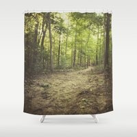 woods Shower Curtains featuring woods by Bonnie Jakobsen-Martin