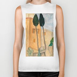 """Amedeo Modigliani """"Cypresses and Houses at Cagnes (Cyprès et maisons à Cagnes)"""" Biker Tank"""