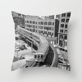 Brown Line Throw Pillow