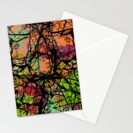Cracks And Colour - Pastel orange, blue and green abstract with black marble effect Stationery Cards