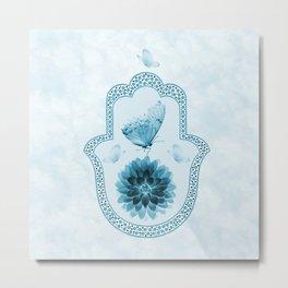 Butterfly Lotus Blue Hamsa Hand Metal Print