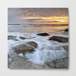 Stormy Shoreline ⛅ Sunset Metal Print