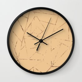 Beige and Gold Glitter Geometric Lines Wall Clock