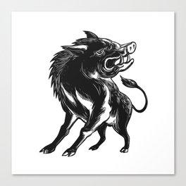 Angry Wild Hog Razorback Scratchboard Canvas Print