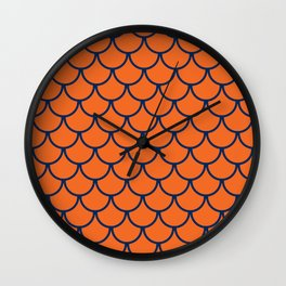 Orange & Blue Fish Scales Pattern Wall Clock