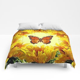 Monarch Butterfly Creany Yellow Sunflower Circle Comforters
