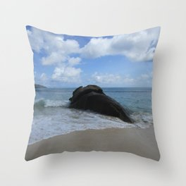 Be like a rock in the surf for others Throw Pillow