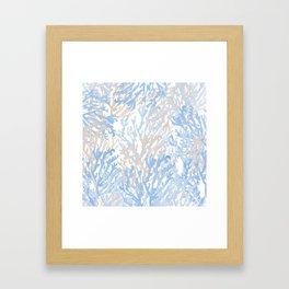 Modern hand painted blue brown watercolor reef coral floral Framed Art Print