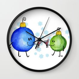 Festive Drinking Ornaments Wall Clock