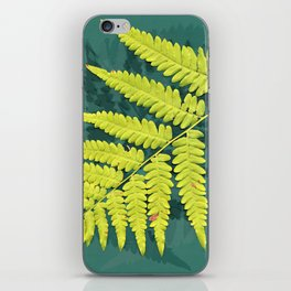 From the forest - lime green on teal iPhone Skin