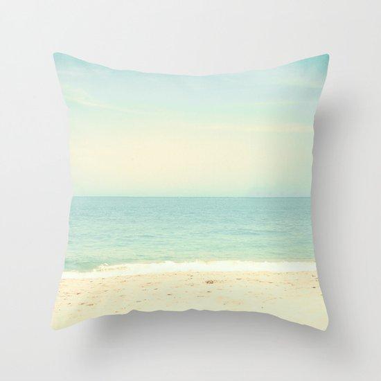 Pastel Retro Beach  Throw Pillow