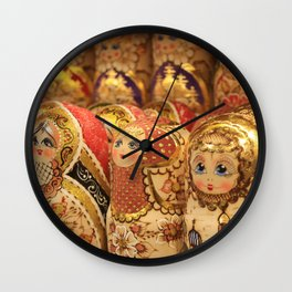 A lot of souvenirs of golden nesting dolls Wall Clock