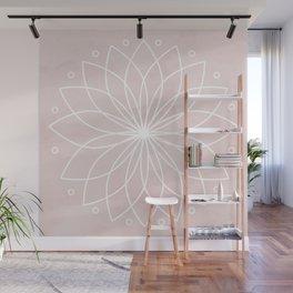 Mandala on Pink Watercolor Background Wall Mural