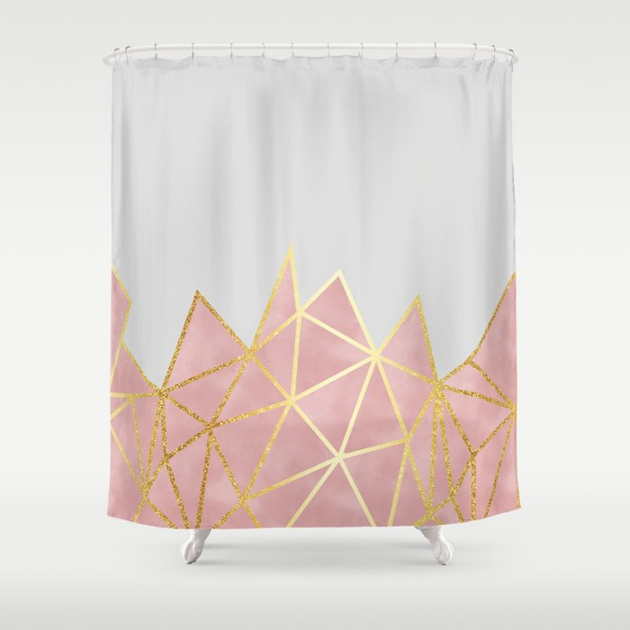 Pink Gold Geometric Shower Curtain By Tanyalegere