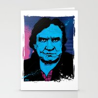 johnny cash Stationery Cards featuring Johnny Cash by Todd Bane