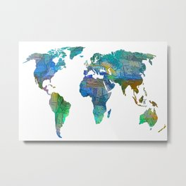 Blue World Transparent Map Metal Print