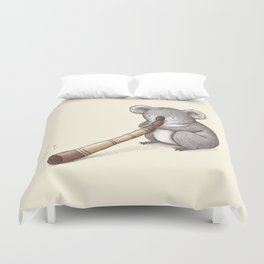 Koala Playing the Didgeridoo Duvet Cover