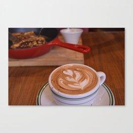 Caffe Macchiato with Breakfast - Cafe or Kitchen Decor Canvas Print